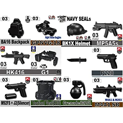 Custom Navy Seals Weapons Pack (P4) Designed for Brick Minifigures: Toys & Games