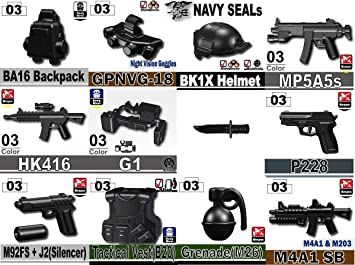 Custom Navy Seals Weapons Pack (P4) Designed for Brick Minifigures