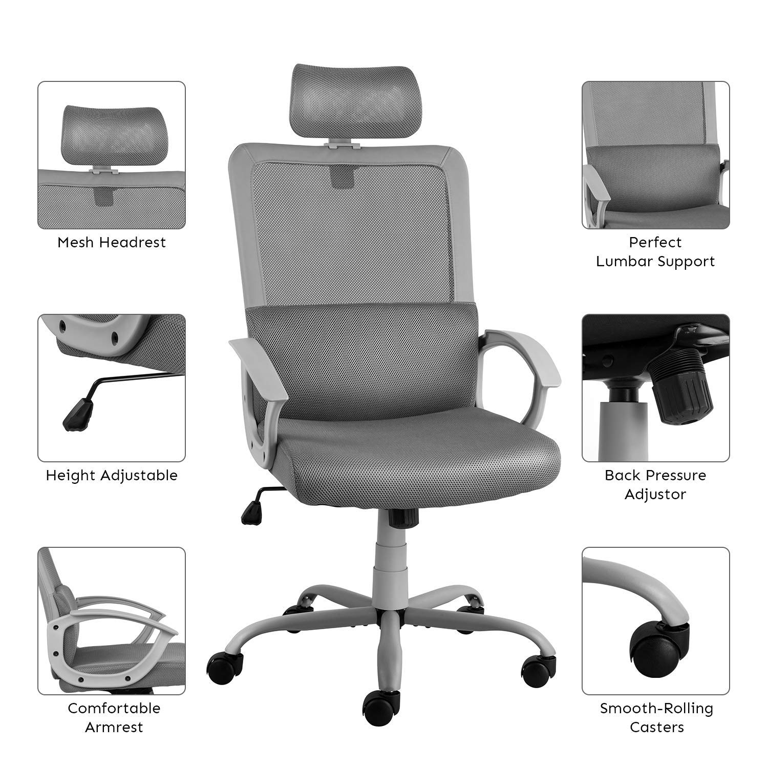 Smugdesk Ergonomic Office Chair High Back Mesh Office Chair Adjustable Headrest Computer Desk Chair for Lumbar Support, Grey by Smugdesk (Image #2)