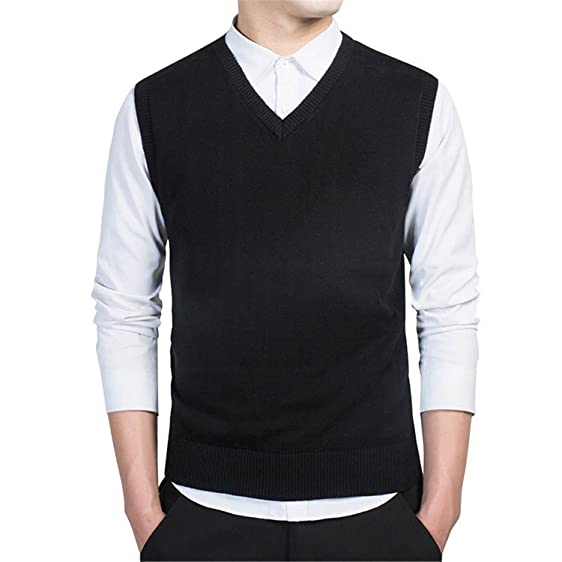 B dressy Pullover Sweater Men Autumn V Neck Slim Vest Sweaters ...