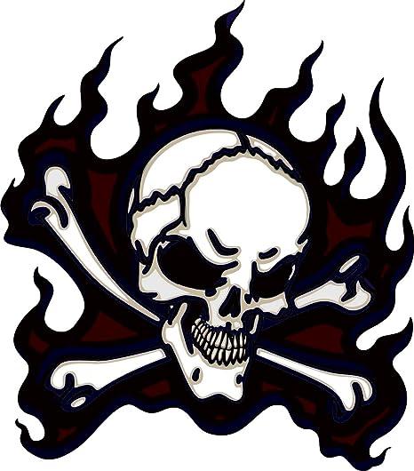 Michael Rene Pflüger Barmstedt 8 X7 Cm Konturschnitt Autoaufkleber Pirat Totenkopf Skull Flamme Sticker Aufkleber Fürs Auto Motorrad Handy Laptop Outdoor Indoor Auto