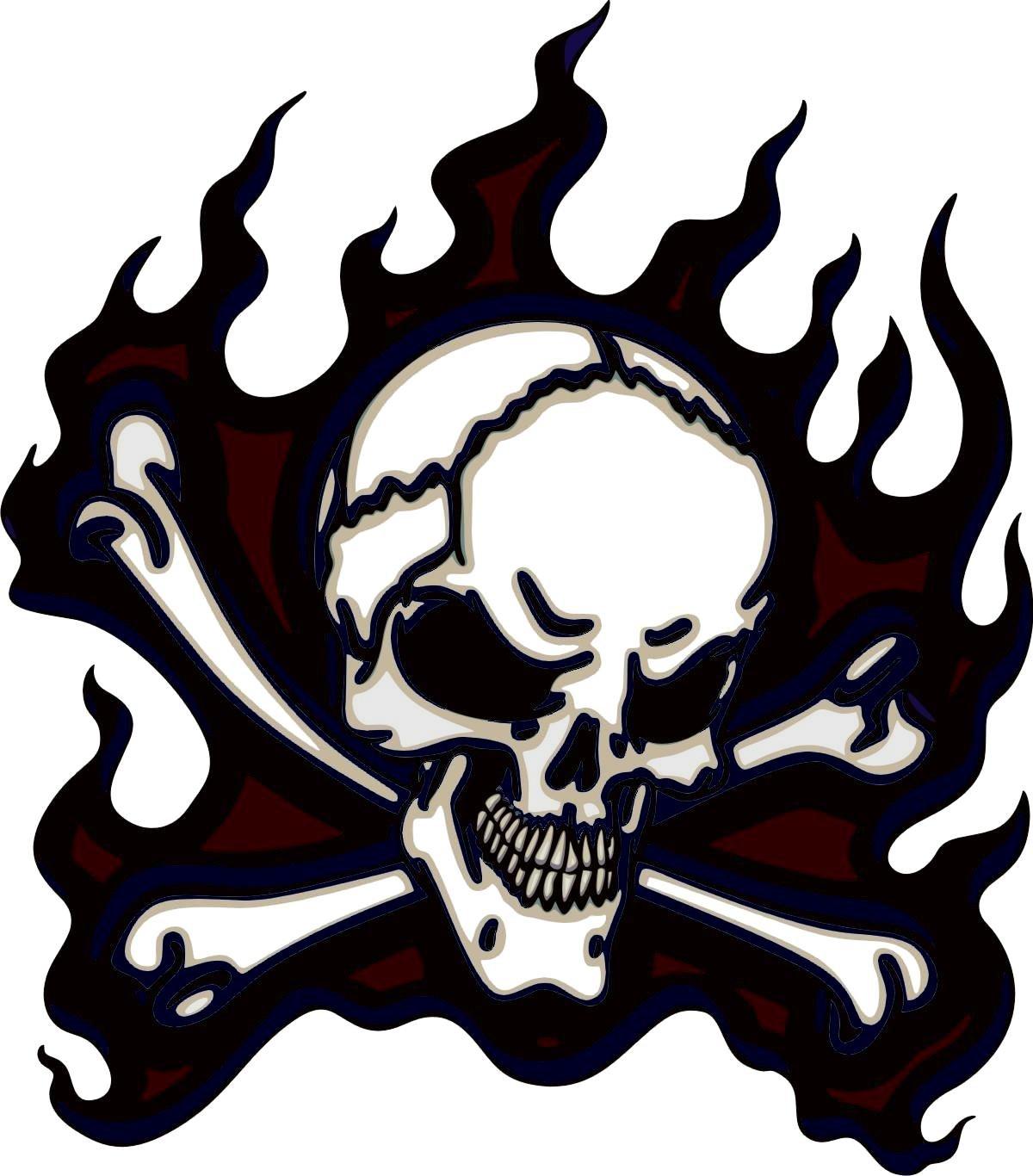 Autocollant pour voiture 8x 7cm Découpe contour Pirate Tête de Mort Flamme Pour Voiture Moto Housse ordinateur portable intérieur/extérieur