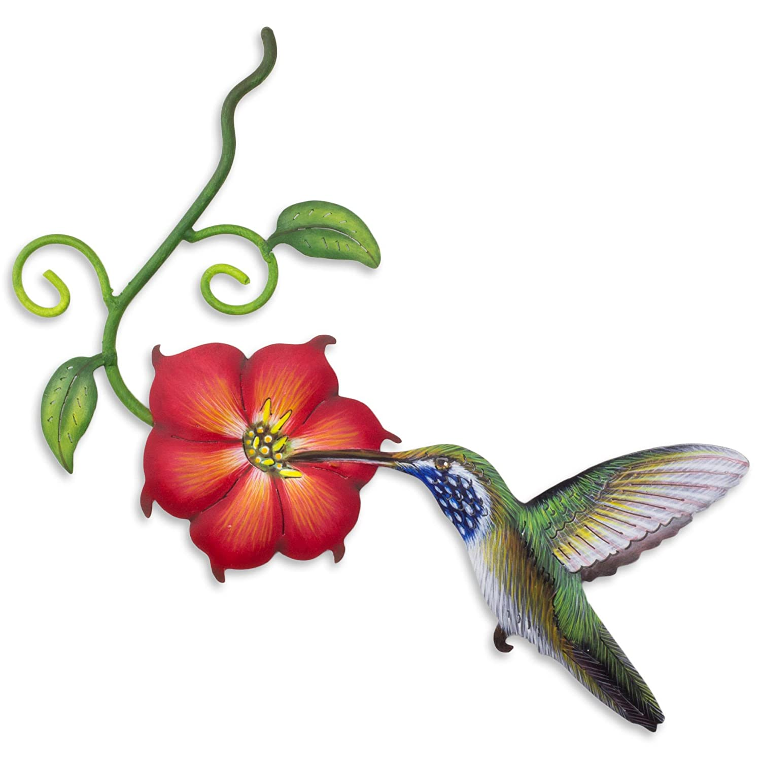 NOVICA Hummingbird and Red Flower Painted Steel Cutout Indoor Outdoor Wall Art, Exotic Nectar in Red'