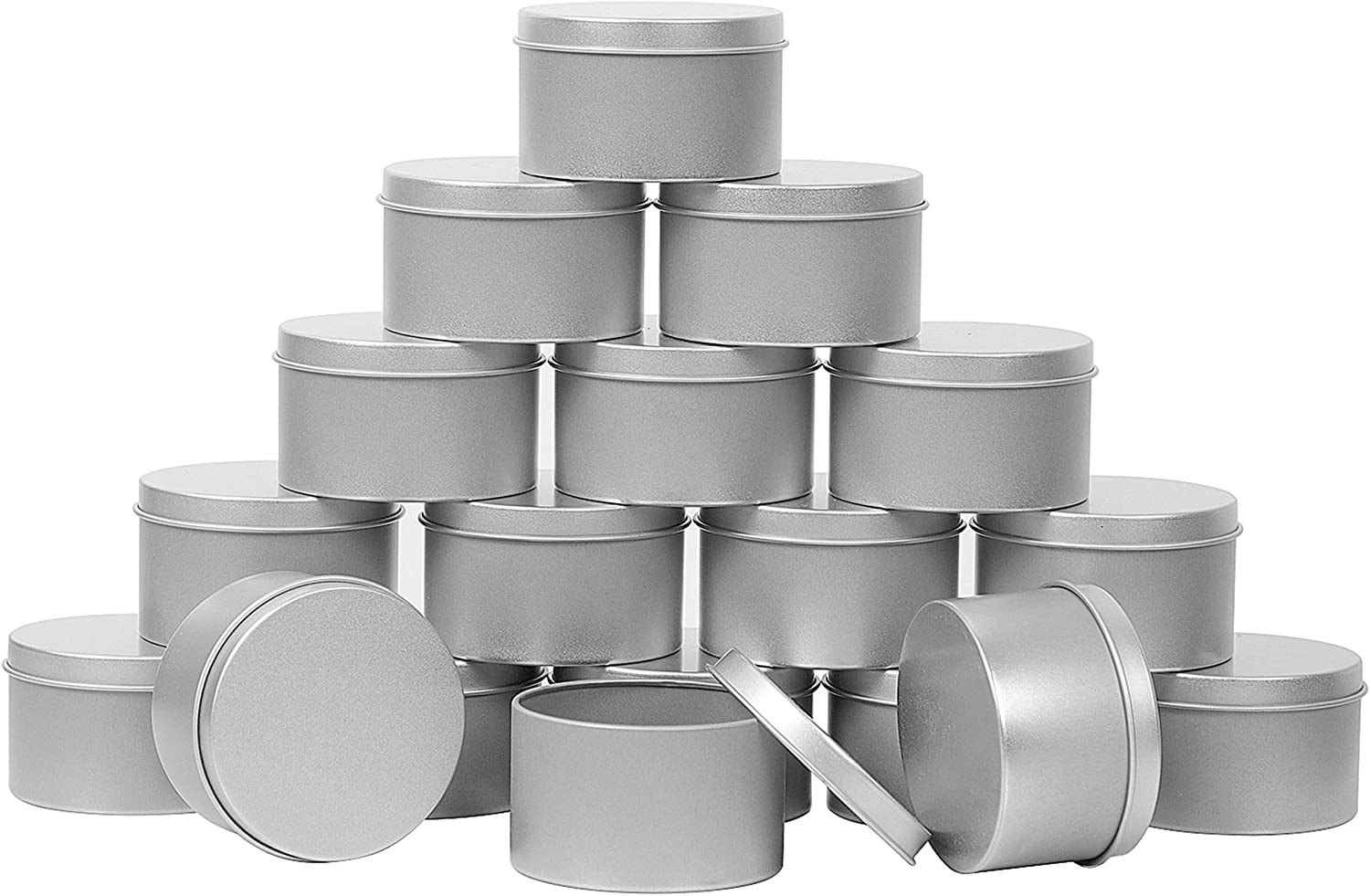 ZOENHOU 60 Pack 4 Oz Candle Tins, Round Empty Metal Tins with Lids, Portable Metal Storage Tin Jars, Refillable Spice Containers for Gifts, Candle Making, Party Favors, Balms and Gels