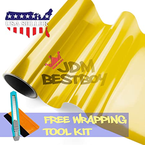 Free Tool Kit 12x60 Glossy Golden Yellow 3000k Tint Headlight Fog Lights Taillight Smoke Vinyl Film Self Adhesive 1FT x 5FT