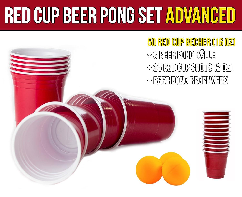 Red Party Beer Pong Cups 16 oz Beer Pong B/älle und Beer Pong Regelwerk 473 ml rot inkl + 3 wei/ße B/älle Rote Becher