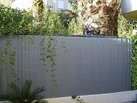 cosidos de caña de jardín PVC doble cara Stratis gris perla, en ...