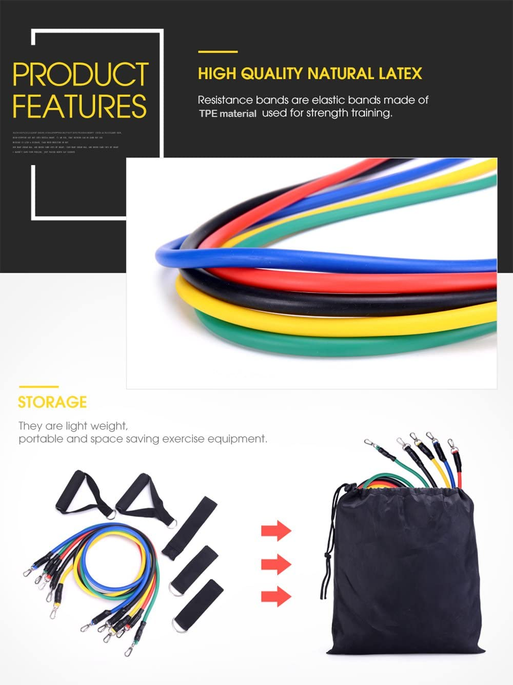 Resistance Exercise Bands Band Set TB12 Workout 11 Pieces With Bands Door Bag