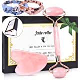 Jade Roller and Gua Sha Set,SPLAKS Rose Quartz Facial Jade Massager 100% Natural Face Neck Skin Care Anti-Aging Slimming Healing Rejuvenate Wrinkgless and Lighten Dark Circles (with 2 Headbands)