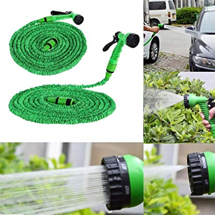 Green, 15m //50ft JIASHA Expanding Water Hose Expanding Flexible Hose,Expandable Garden Water Hose Watering Sets with 7 Functions Nozzle for Home Garden Patio and Car Cleaning