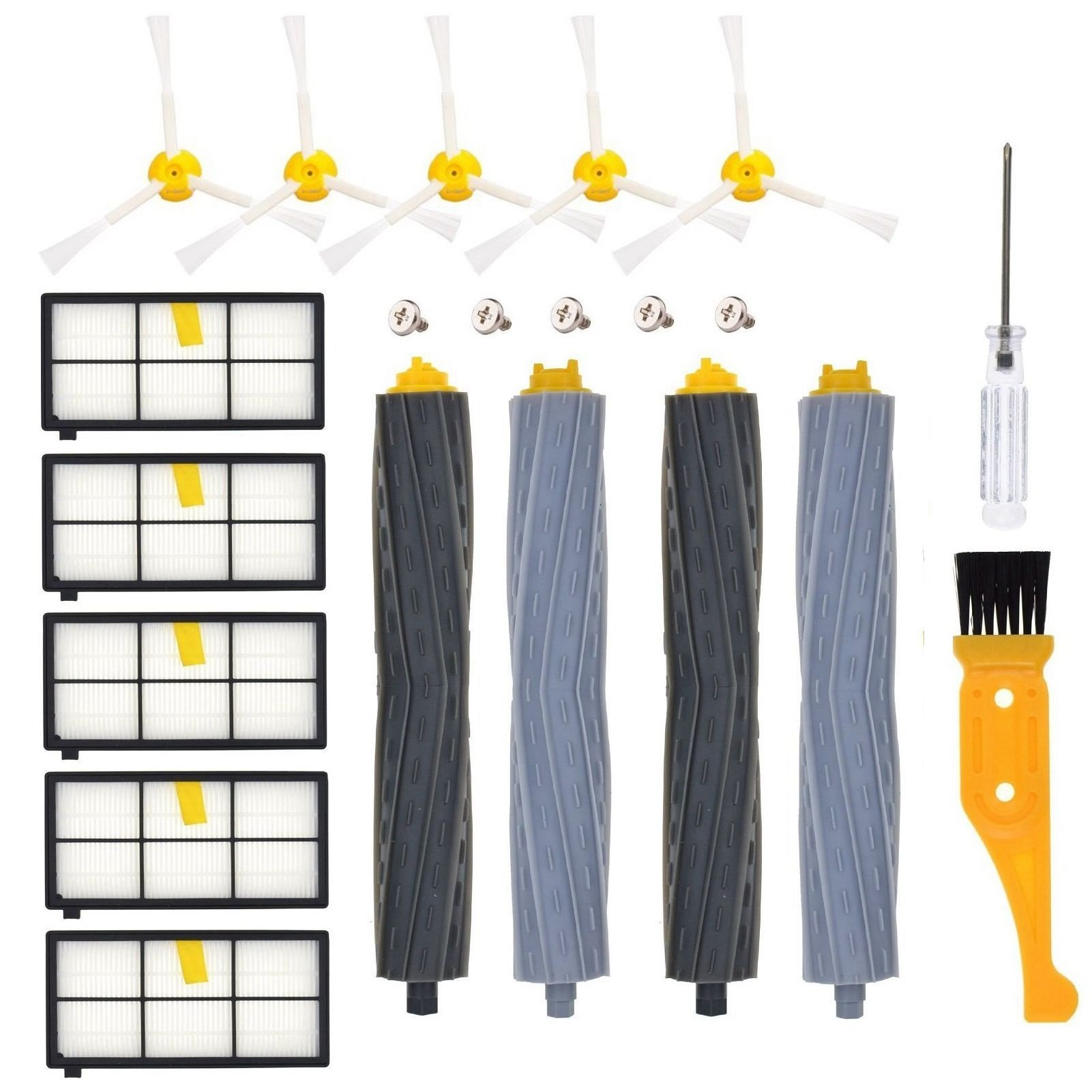 DerBlue Replacement Parts for iRobot Roomba 860 880 805 860 980 960 Vacuums, with 5 Pcs Hepa Filter, 5 Pcs 3-ArmedSide Brush, 2 Set Tangle-Free Debris Rollers,1 Small Brush, 1 Screwdriver by DerBlue