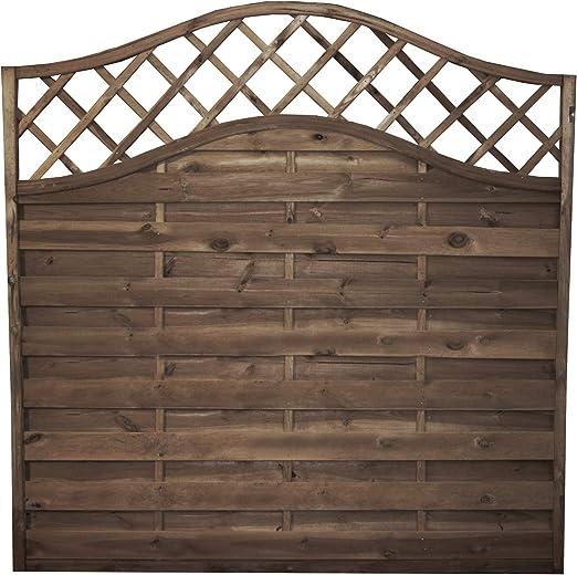 Paneles de vallado horizontales de madera tratada a presión, valla de jardín con parte superior ondulada, 1, 8 m, antiputrefacción: Amazon.es: Jardín