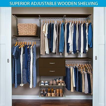 Organized Living FreedomRail Ultimate Adjustable Closet Kit , 72u0026quot;   76u0026quot;, ...