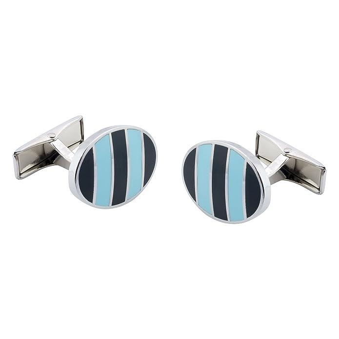 Funky Cufflinks.com Premium Metal collares con ovalado Gemelos elegir colores rayas de guardias de Escocia, Oxford azules, Piccadilly y círculo línea o ...