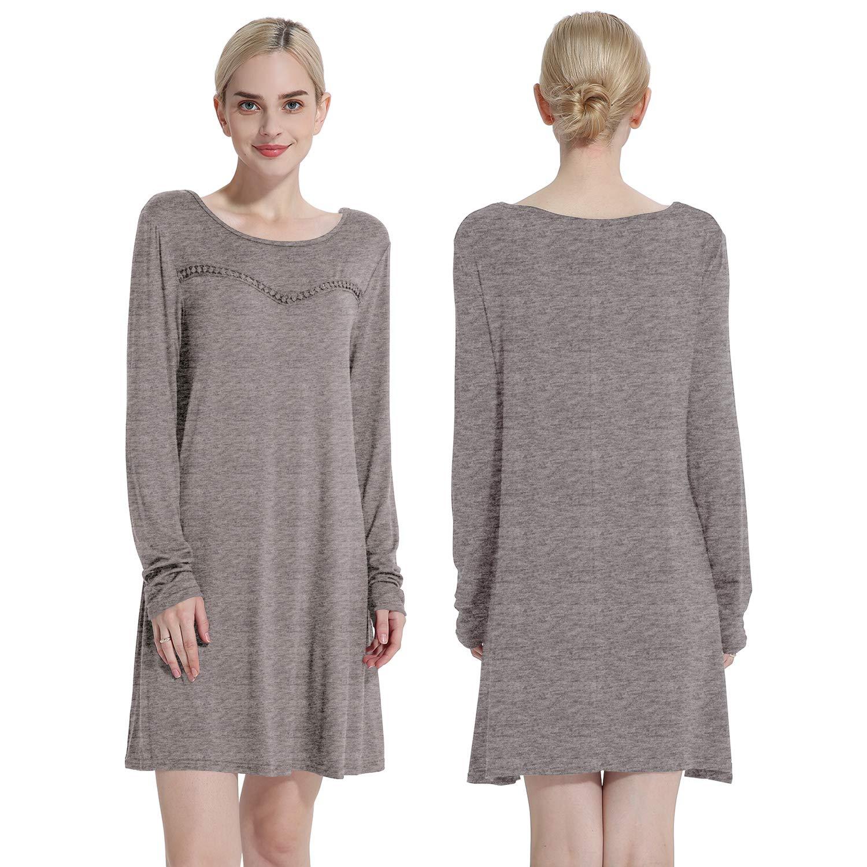69a4b01f172 Cyparissus Tunics for Women Long Sleeve Tunic Swing Top Loose Basic Women's  Tops Swing Dress
