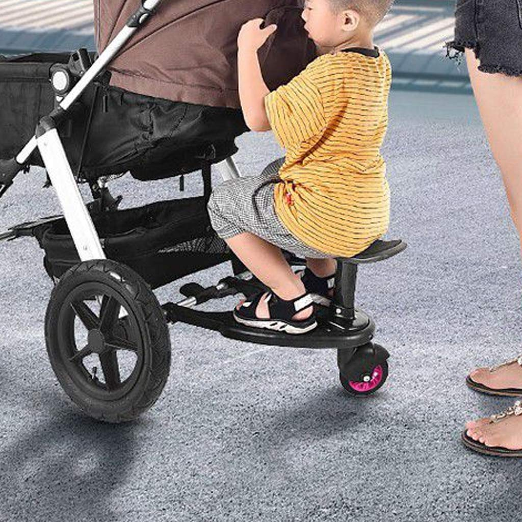 DGDG Buggy Board,Auxiliary Universal Pedal Baby Stroller Accessories Compatibility Up to 99% Pink Wheels, Black by DGDG (Image #2)
