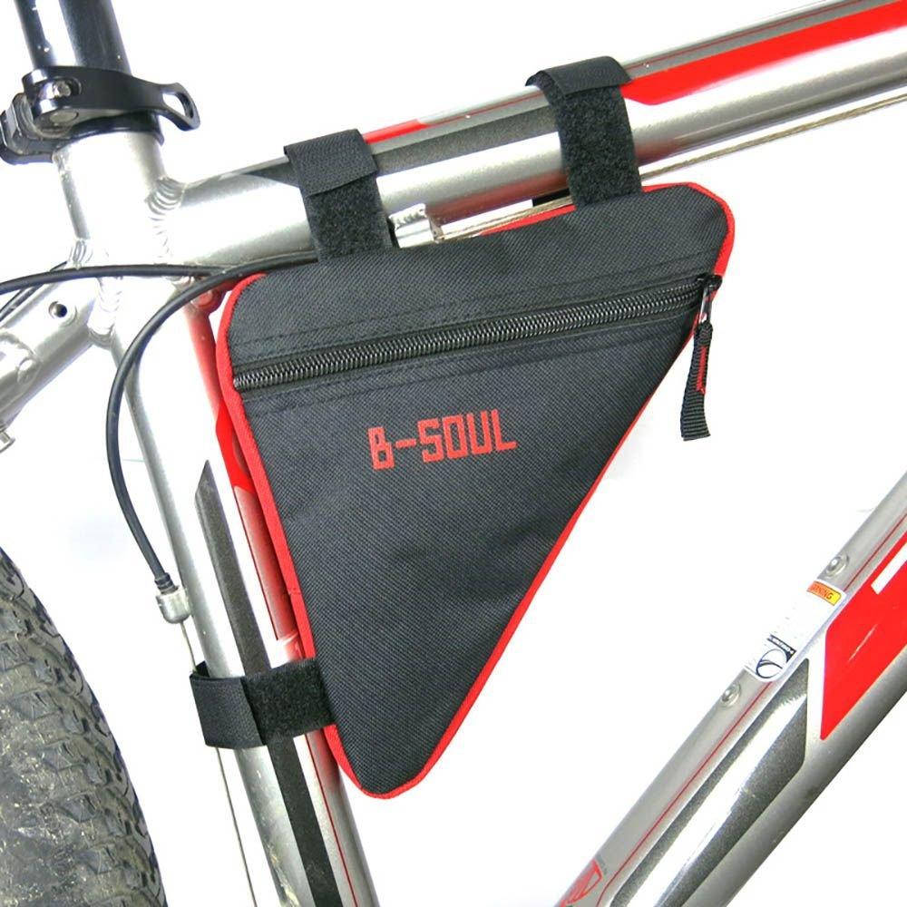 HoteGame 自転車用バッグ トライアングル型 三角型バッグ サイクリング フレームポーチ サドルバッグ 自転車用 スマホホルダー 携帯電話対応 携帯ホルダー 収納力抜群 取り外し便利 大容量 Black