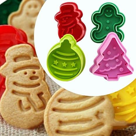 Stampi Per Dolci Di Natale.Itian Set Di 4 Stampi Per Biscotti Formina Per Biscotti Di Natale Cookie Cutter In Plastica
