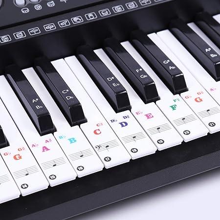 Pegatinas de piano para teclados 49/61/76/88, color blanco ...