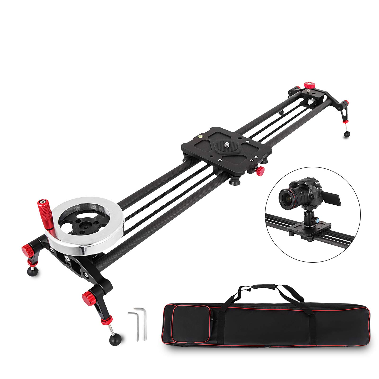 Happybuy 31.5'' Camera Track Slider Rail with Handle Flywheel Counterweight Carbon Fiber Rails 110LB Capacity Video Stabilizer Dolly for DSLR Filming Camcorder DV Film Stabilization Track by Happybuy