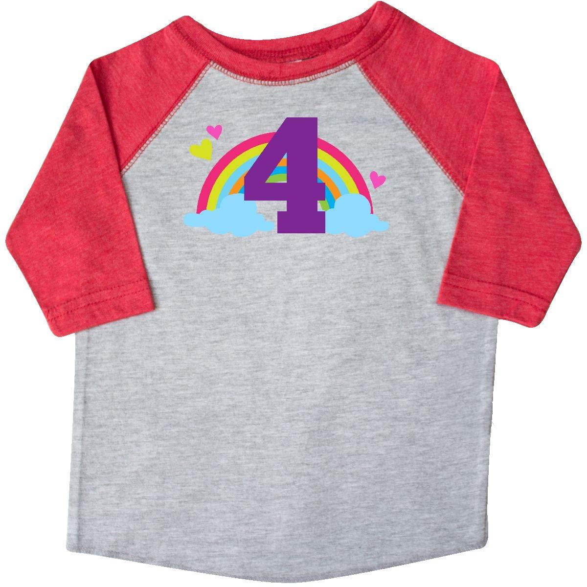 inktastic 4th Birthday Rainbow Toddler T-Shirt