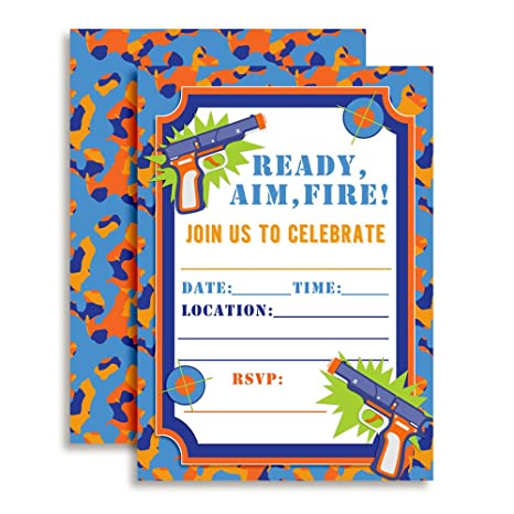 Amazon Dart Gun Birthday Party Invitations 20 5x7 Fill In