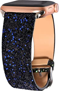Greaciary Glitter Bling Band Compatible for Apple Watch 38mm 40mm 42mm 44mm Leather Luxury Shiny Sparkle Women Strap Wristbands Replacement for iWatch Series 5/4/3/2/1 (Black Blue, 42mm/44mm)