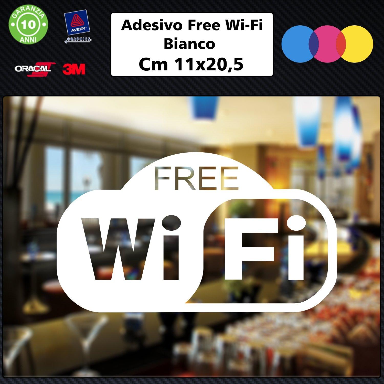 1 Adesivo (BIANCO) Free Wifi per bar, club, uffici,vetrine, negozi, ristoranti, salon, stickers, decal 001 Just Go Online