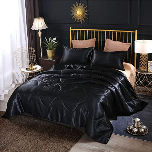 Amazon Com Ntbed Luxury Silky Satin Comforter Set Queen Black Soft Lightweight Microfiber Sexy Quilted Bedding Sets With 2 Matching Pillow Covers For Summer Spring Autumn Kitchen Dining