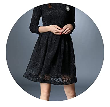 Spring Long Sleeved Black Lace Dress Vestidos Mujer Invierno Autumn Dress Kerst K9276,Black,