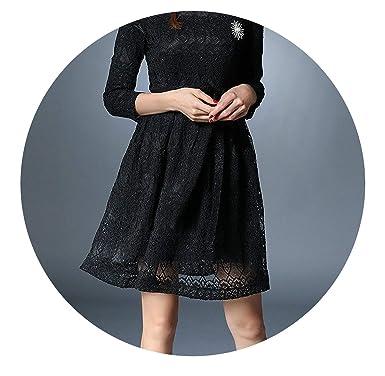 Spring Long Sleeved Black Lace Dress Vestidos Mujer Invierno Autumn Dress Kerst K9276,Black,