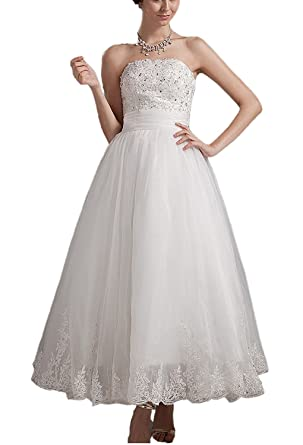 Angel Formal Dresses Womens Strapless Beading Applique Lace Wedding Dress (2,Ivory)