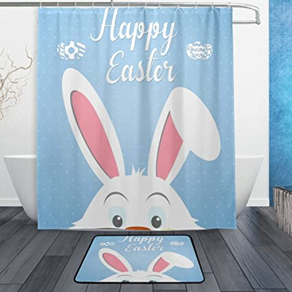 ALAZA Cute Easter Bunny Rabbit Blue Shower Curtain 60x72 Inch And Rug Set For Bathroom