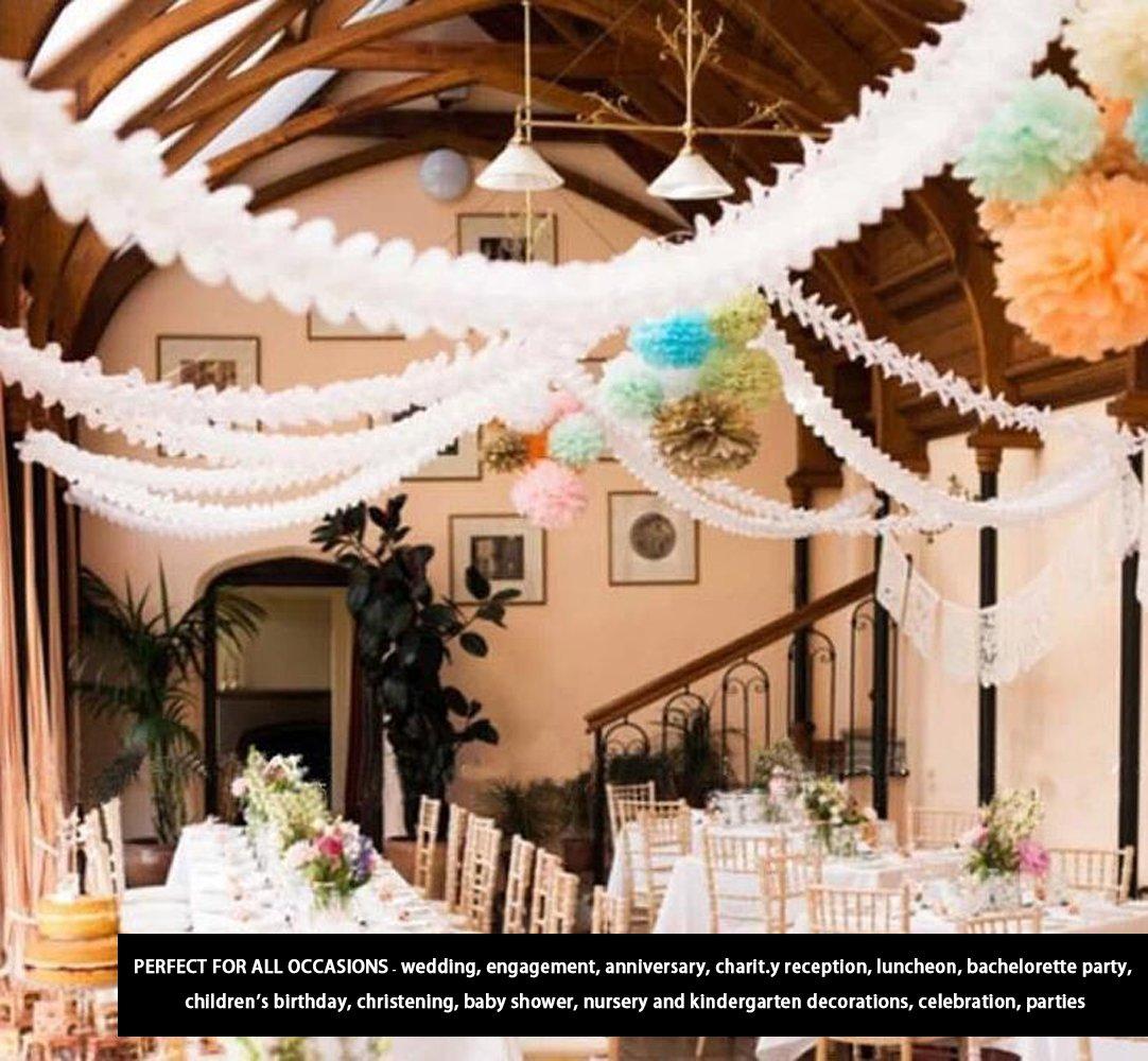 Party Decoration kit 6pcs appeso ghirlanda quattro-foglio carta velina ghirlanda di fiori riutilizzabile stelle filanti per Baby Shower wedding nursery nuziale doccia 10/ft//3/M lungo ciascuno blu set