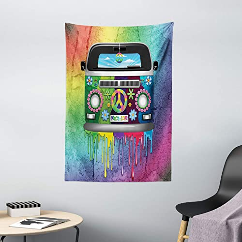 Ambesonne Groovy Tapestry, Old Style Hippie Van Dripping Rainbow Paint Mid 60s Youth Revolution Movement Theme, Wall Hanging for Bedroom Living Room Dorm Decor, 40 X 60 , Magenta