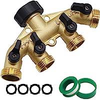 Twinkle Star 4 Way Heavy Duty Brass Garden Hose Splitter, Hose Connector 3/4