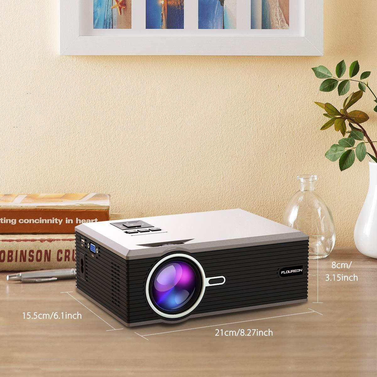 FLOUREON 1200 Lumen Mini Beamer, 1080P Full HD Home cinema Videoproiettore, 30,000 orario, minore LCD proiettore collegamento con VGA, USB, HDMI, SD, AV, supporto Telefono DVD TV bastone, nero, argento
