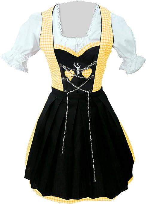 36//38 Damen Trachten Kleid braun gelb Gr