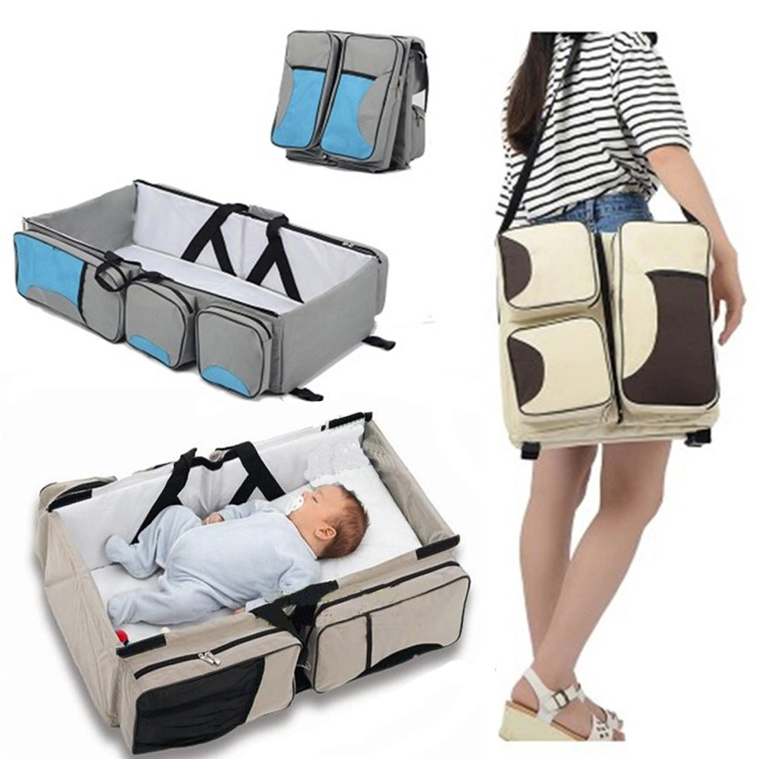 Baby 3 in 1 Portable Bassinet Diaper Bag Changing Station with Fitted Sheet Travel Crib Bed for Babies Multi-Functional Bassinet Travel Infant Bed