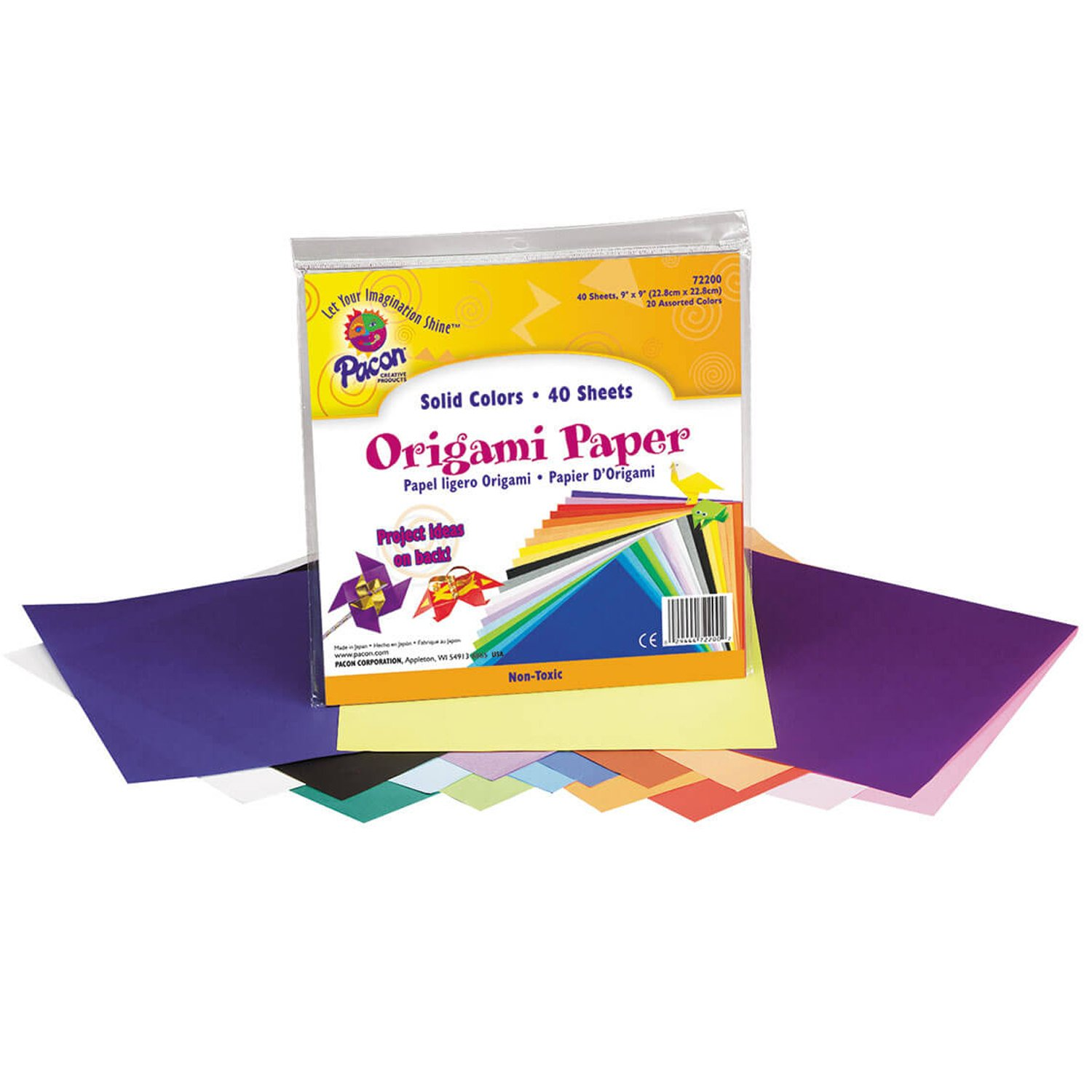 Pacon Origami Lightweight Paper - 9 x 9 inches - Pack of 40 - Assorted Bright Colors PACON CORPORATION 0072200