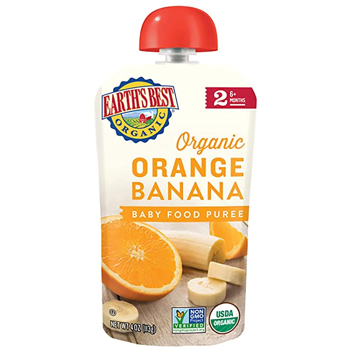 Earth's Best Organic Baby Food Puree Pouch, Orange & Banana, Stage 2 For Babies 6 months & Older, 4 Oz (Pack of 12) [Packaging May Vary]