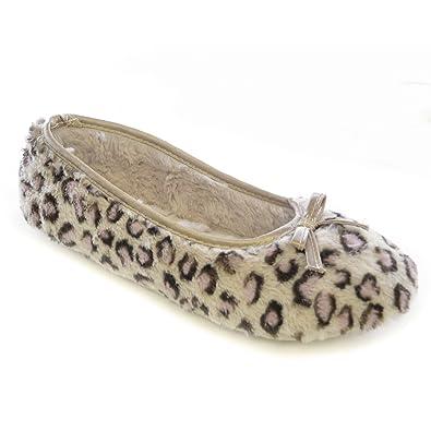 Womens/Ladies Plush Leopard Print Ballet Slippers (7-8 US, 38-