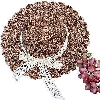 CFHJN Home Sombrero de Mujer Bowknot Color Puro Primavera Verano Sombrero de Paja Bloqueador Solar Sombrero para el Sol