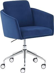 """Amazon Brand – Rivet Bertha Mid-Century Velvet-Upholstered Swivel Office Chair, 25.25""""W, Sapphire Blue with Chrome Finish"""