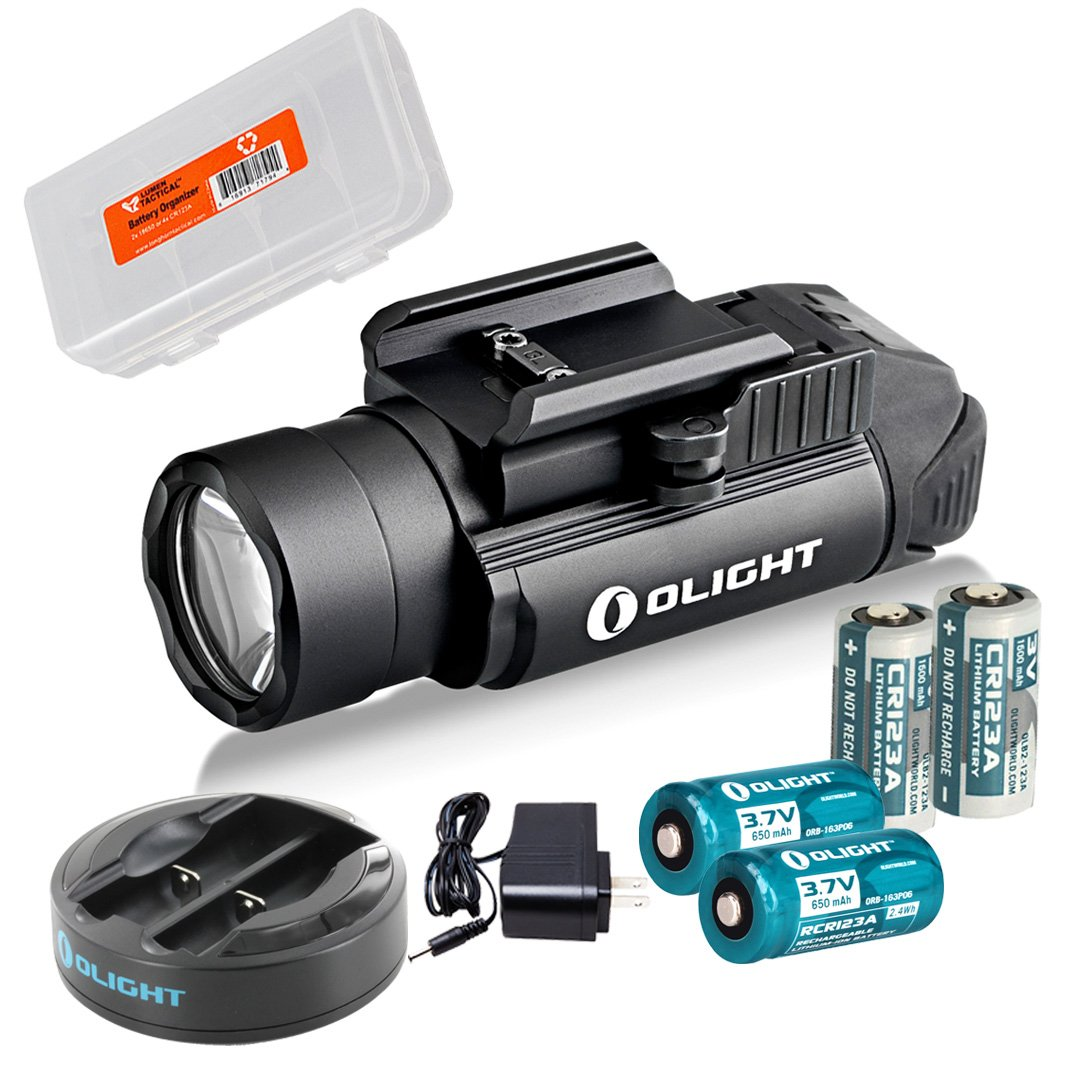 Olight PL-2 PL2 Valkyrie 1200 Lumen Rail Mounted Pistol Light Charging Bundle w/ 2x Olight CR123A Batteries, 2x Olight RCR123 Rechargeable Batteries & Omni-Dok-II Charger & LumenTac Battery Organizer by Olight