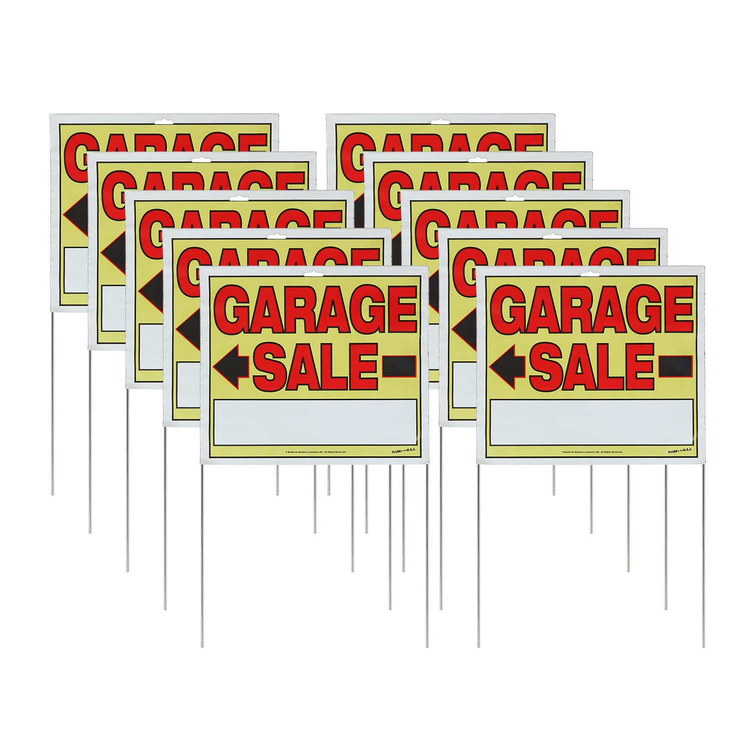 """Sunburst Systems 22""""H x 14""""W Double-sided Garage Sale Signs with Wire U-Stakes, 10 Pack"""