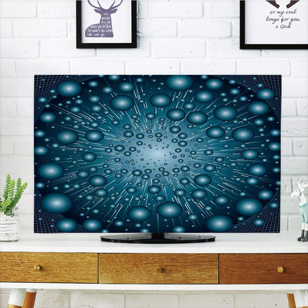 iPrint LCD TV Cover Multi Style,Fantasy,Digital Explosion Computer Art Futuristic Dots Circular Spots Galaxy Energy Image,Petrol Blue,Customizable Design Compatible 55'' TV