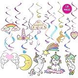 Unicorn Party Decorations Joyfun Hanging Swirl 18 PCS Supplies Girls Birthday Christmas Ornament