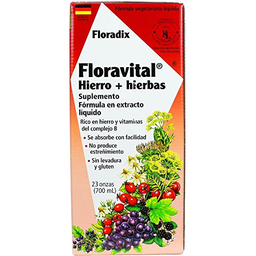 Floravital Liquid Iron Supplement + Herbs 23 Ounce XL - Vegan, Yeast & Gluten Free - Non Constipating