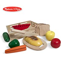 Melissa & Doug Cutting Food Wooden Play Food (Pretend Play, Self-Stick Tabs, Sturdy Wooden Construction, 7.112 cm H x 30.48 cm W x 27.94 cm L)